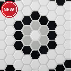 New! Rosette 1.5 in. Ceramic Hexagon Mosaic