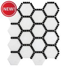 New! Gossamer White and Black Marble Hexagon Mosaic