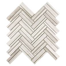 Coastal Ivory Honed Marble Herringbone Mosaic