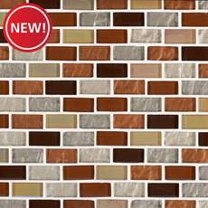 New! Agrigento II 1 x 2 in. Brick Glass Mosaic