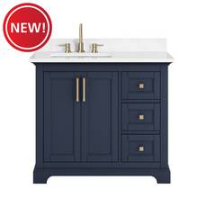 New! Paxton 37 in. Navy Vanity with Engineered Top