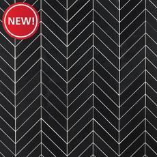 New! Jet Black Basalt Chevron Mosaic