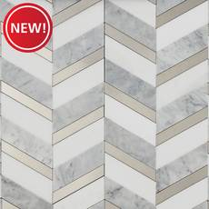 New! Lenox Silver Chevron Peel and Stick Tile