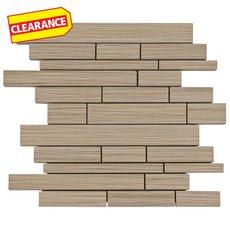 Clearance! Tessuto Linen Beige Linear White Body Ceramic Mosaic