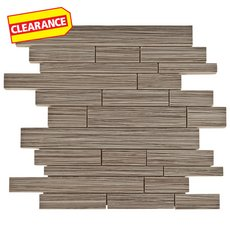 Clearance! Tessuto Linen Nutmeg Linear White Body Ceramic Mosaic