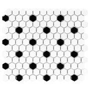 White and Black Mixed Hexagon Porcelain Mosaic