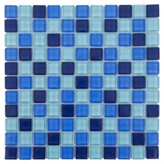 Montage Blue Mix Square Polished Glass Mosaic