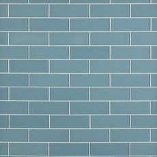 Spa Blue Shiny Glass Tile