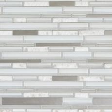 Norwegian White Stone Linear Polished Glass Mosaic