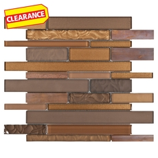 Clearance! Lag Brown Linear Glass Mosaic