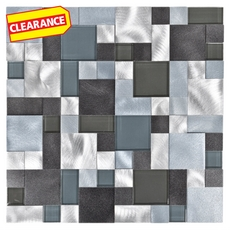 Clearance! Metallico Ocean Pattern Metal and Glass Mosaic