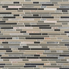 Bliss Silver Aspen Quartzite Linear Blend Glass Mosaic