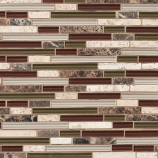 Cabernet Linear Blend Glass and Stone Mosaic