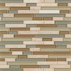 Spa Linear Blend Glass and Stone Mosaic