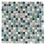 Blue 5/8 in. Square Glass and Stone Mosaic
