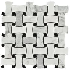 Carrara White and Black Basket Weave Marble Mosaic