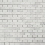 Carrara White Tumbled Brick Marble Mosaic