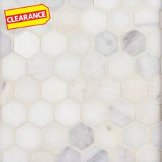 Clearance! White Hexagon Tumbled Marble Mosaic
