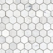 Bianco Carrara Hexagon Polished Marble Mosaic