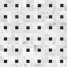 Bianco Carrara Polished Pinwheel Marble Mosaic