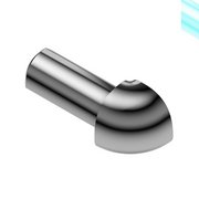 Schluter-Rondec Outside Corner for 1/2in. Polished Chrome Anodized Aluminum Rondec Profile