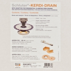Schluter-Kerdi-Drain Residential Adaptor Kit ABS 4in. Stainless Steel Grate