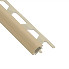 Schluter-Rondec Bullnose Edge Trim 3/8in. in PVC with a Sand Pebble finish